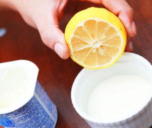 yogur y limon para el cabello